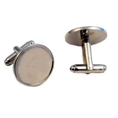 Cufflink Pair Round 18mm silver